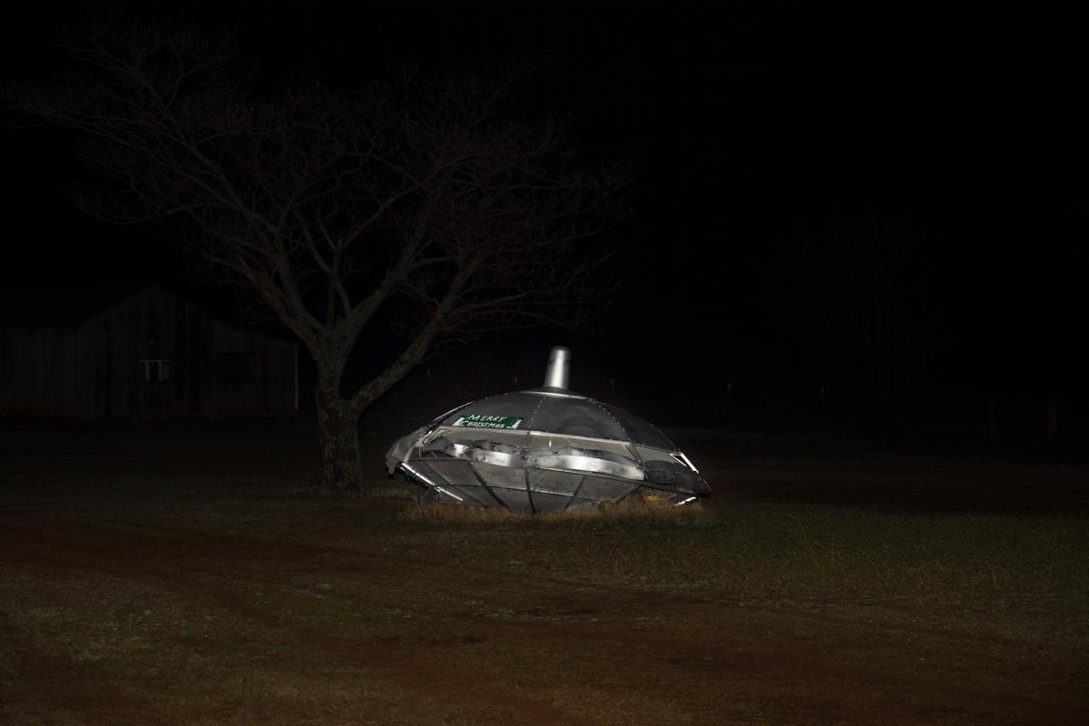 Yard Art Merry Christmas Flying Saucer - Rossville, Oklahoma - 2012