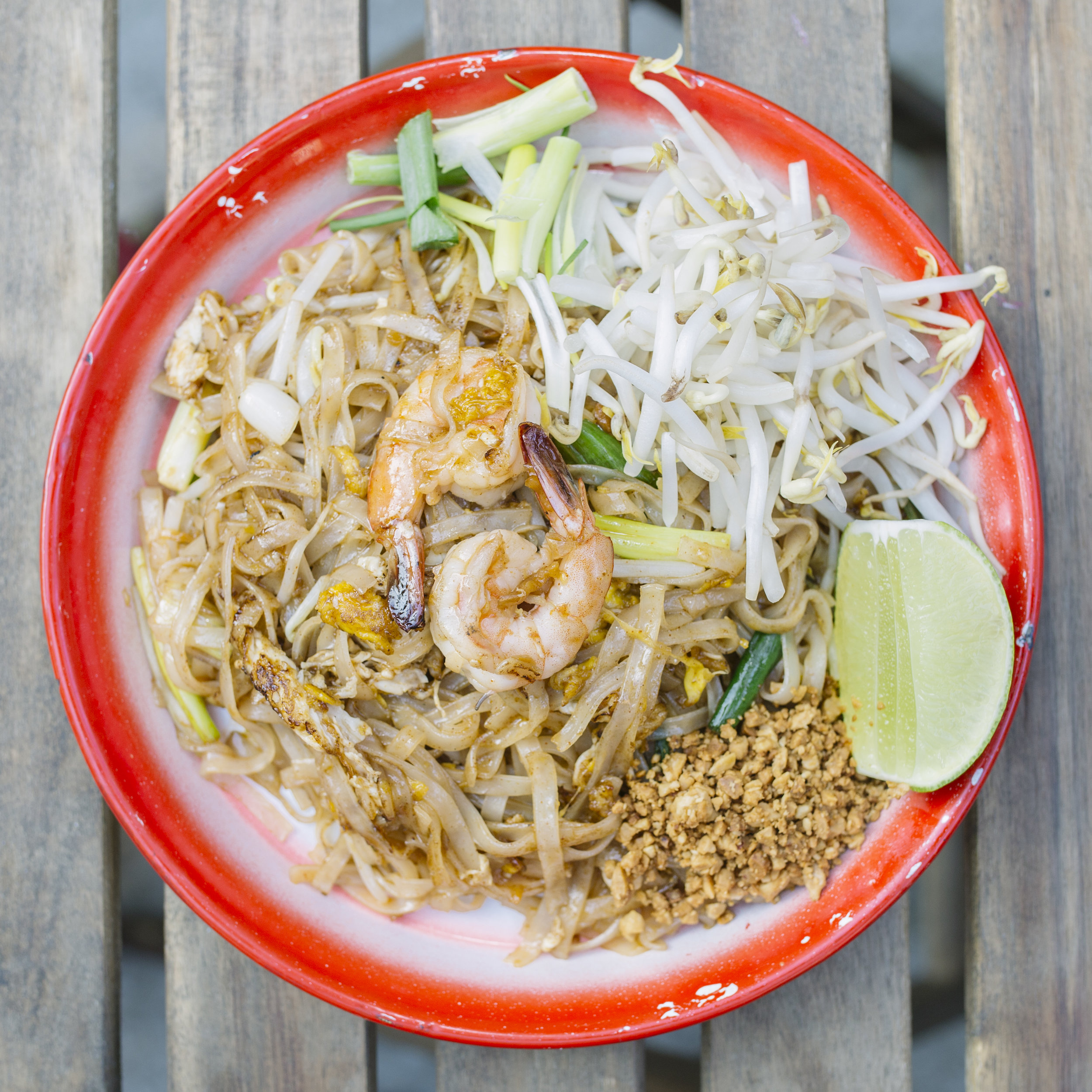 Pad Thai - Stir Fried Fresh Rice Noodles with Beansprouts, Chive, Scallion, Roasted Peanuts, and Egg