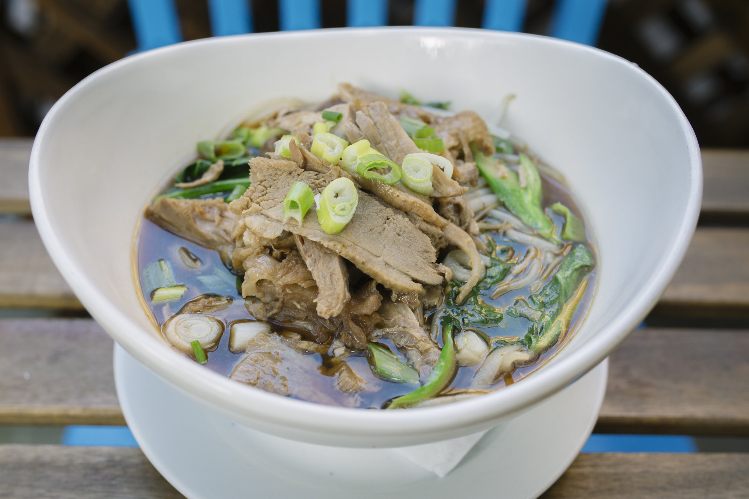 Kwei Thew Ped - Rice Noodle in Five Spice Soy broth with Roasted Duck