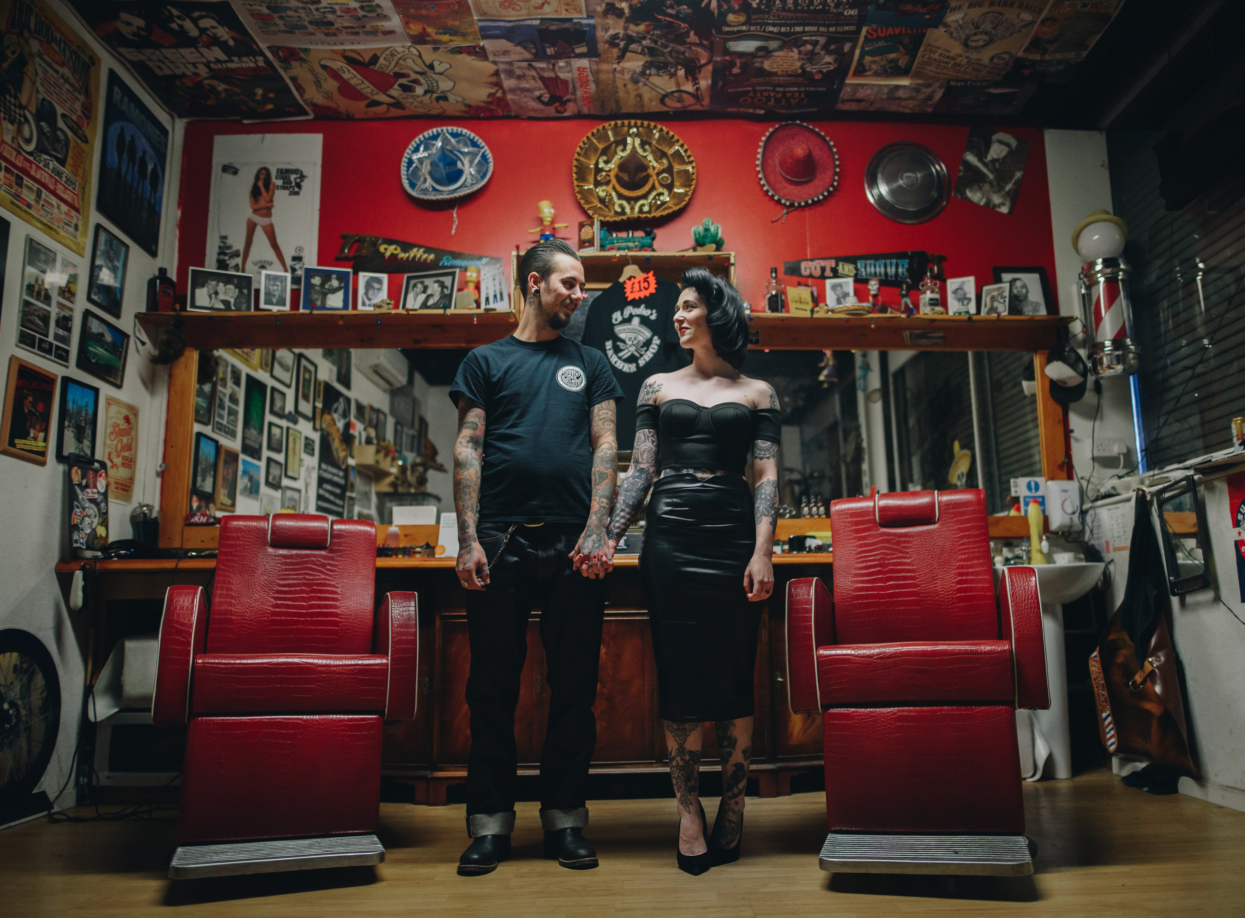 Alternative Manchester Engagement and Couples Photography | Rockabilly Retro Barbershop Engagement | The Pin-Up Bride 2