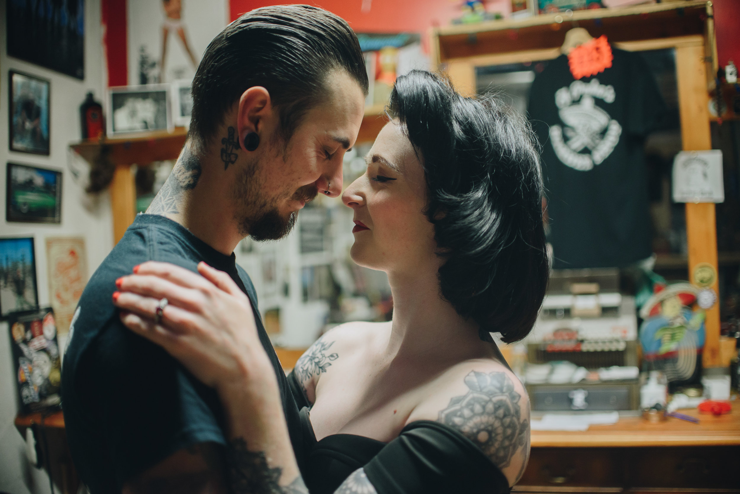 Alternative Manchester Engagement and Couples Photography | Rockabilly Retro Barbershop Engagement | The Pin-Up Bride 3