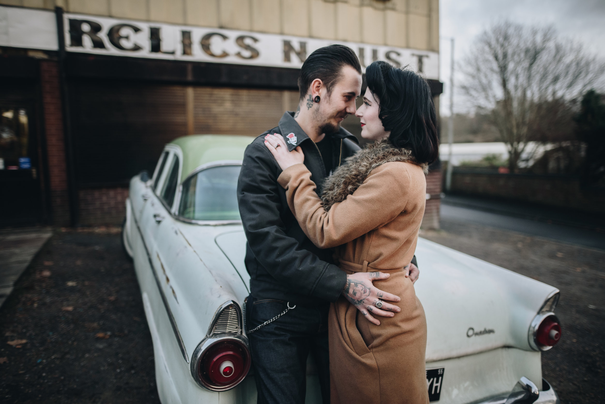 Alternative Manchester Engagement and Couples Photography | Rockabilly Retro Barbershop Engagement | The Pin-Up Bride 7