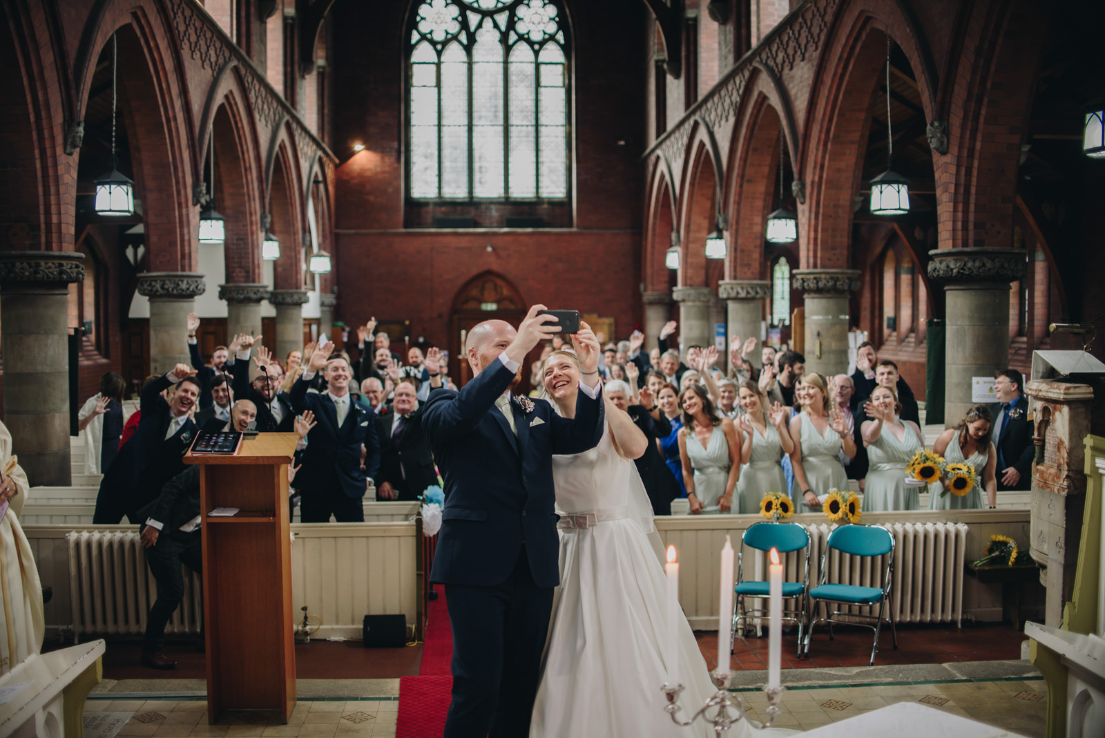 Alternative Manchester North West Wedding Photography, The Wellbeing Farm Wedding Photography | Rustic Pokemon Comic Book Wedding| The Pin-Up Bride | Church Selfie