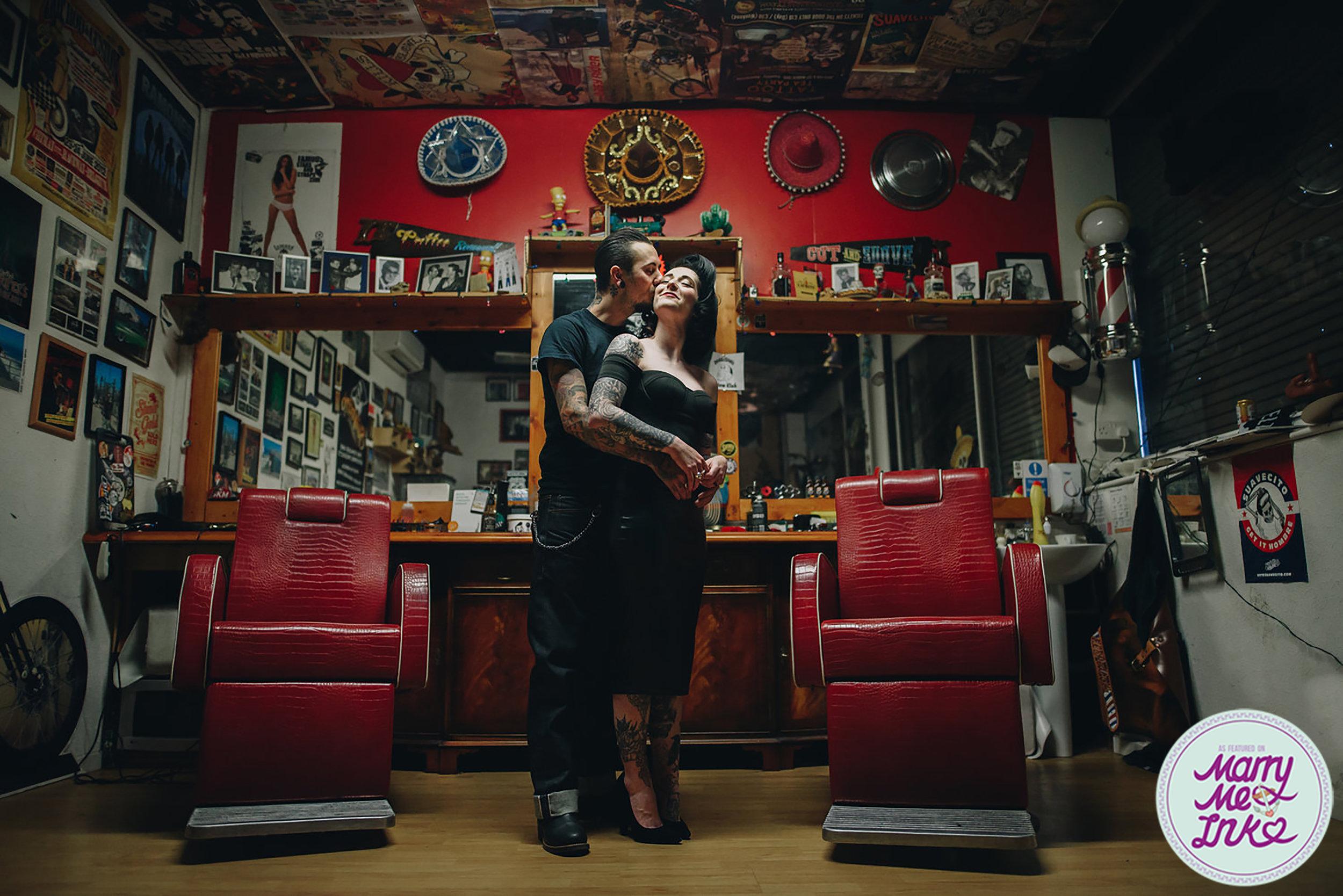 Rockabilly Barbershop Engagement Photography