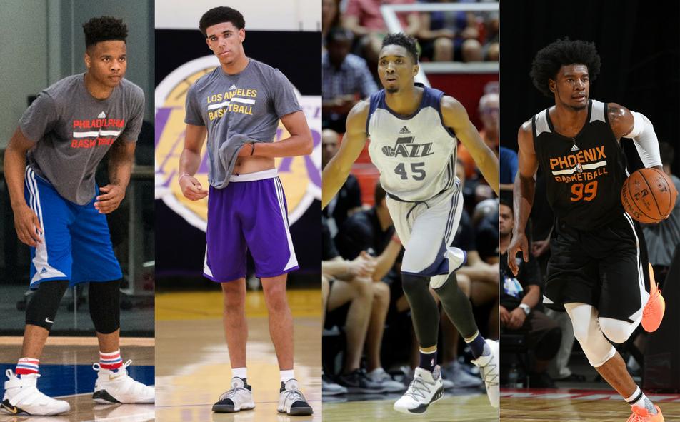 Left to right: Markelle Fultz, Lonzo Ball, Donovan Mitchell, Josh Jackson  Photos courtesy of NBA.com, The Salt Lake Tribune, & sportingnews.com