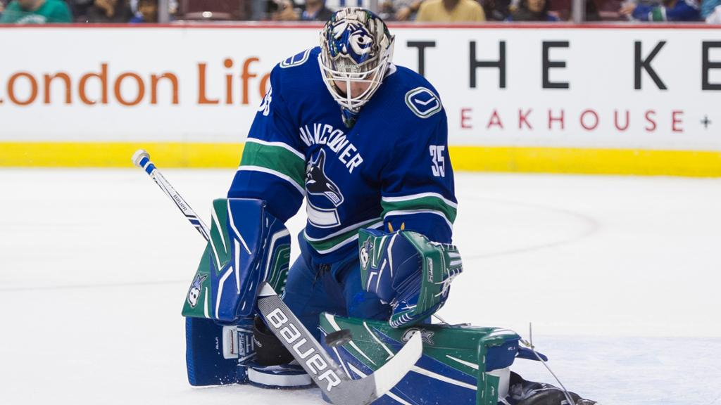 Goalie Thatcher Demko in action. Photo courtesy of NHL.com