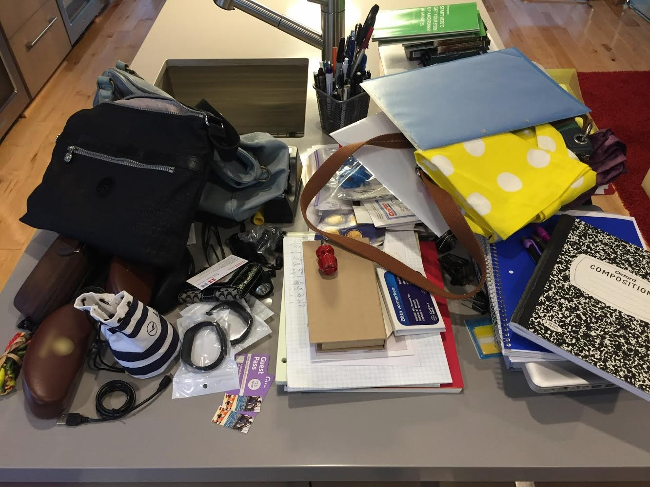 All the items in the desk.