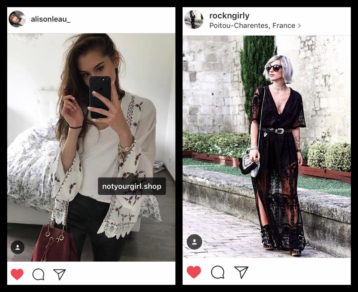 Alison  porte notre kimono brodé (sold out), parfaitement associé à son sac bordeaux. Il n'existe plus   qu'en noir  .  Annegaelle  porte A MERVEILLE la sublime   robe toute en dentelle   (mais doublée d'une combi-short) noire.