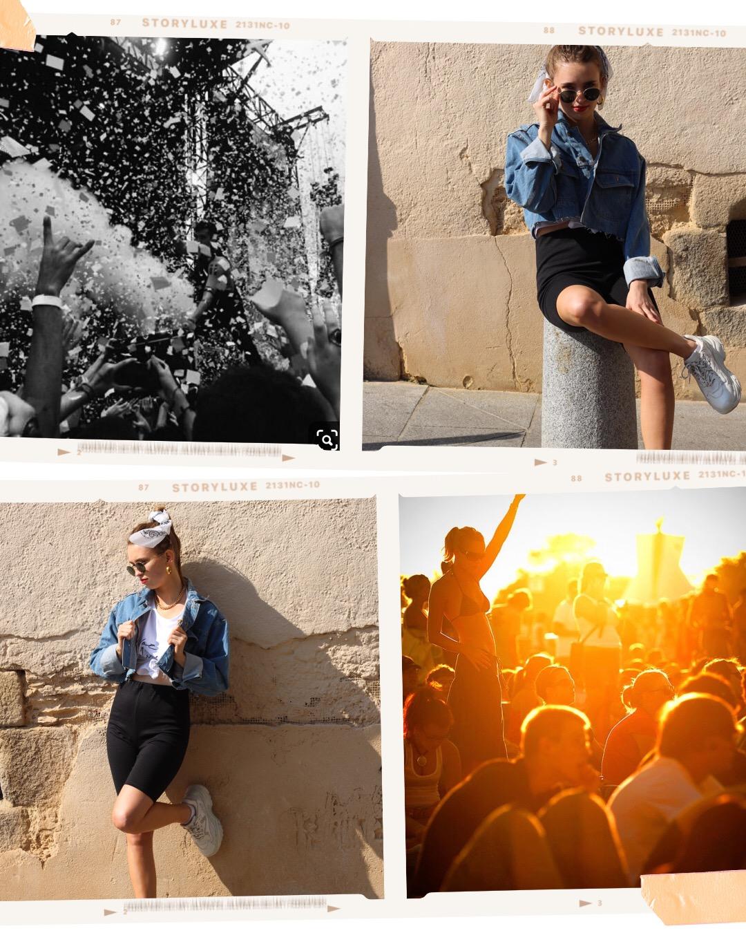 Tomorrowland - Années 90's baby !! Comme vous le savez la tendance années 90 revient en force même en festival. Et pour se dehancher quoi de mieux qu'un cycliste, un crop blanc a message et une veste en jean crop pour réchauffer le tout ? Côté accessoire on se la joue bling avec des bijoux dorés et un bandana dans les cheveux :).SHOP LA VESTE VINTAGESHOP LE T-SHIRT NOT YOUR GIRLSHOP LE CYCLISTE MOLITORSHOP LES CRÉOLES MATERIAL GIRL