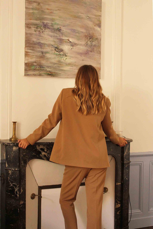 Légère veste Femmes en wetlook à nouer camel #j988
