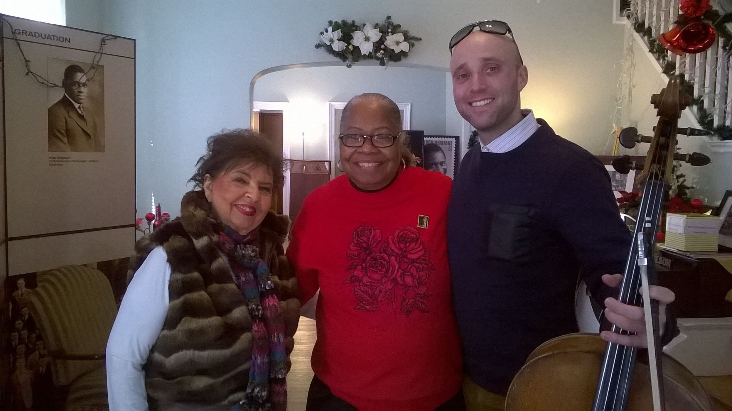 Marie Taylor, renown pianist, Veronica L. Michael, Steve Krameer, cellist, at the Paul Robeson House.