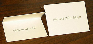 """Option D - Tent Card with Name on Front and """"Table number 1"""" (2, 3, ...) on Inside"""
