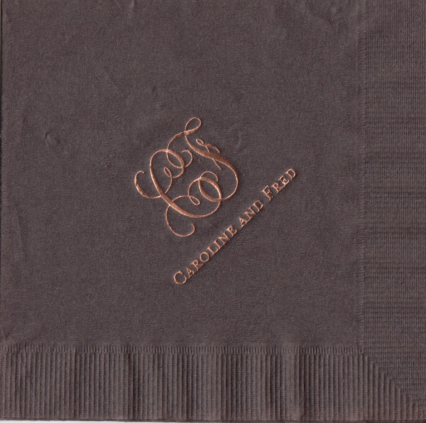 Napkin: Mocha  Imprint: Penny Foil  Beverage  Sample 4