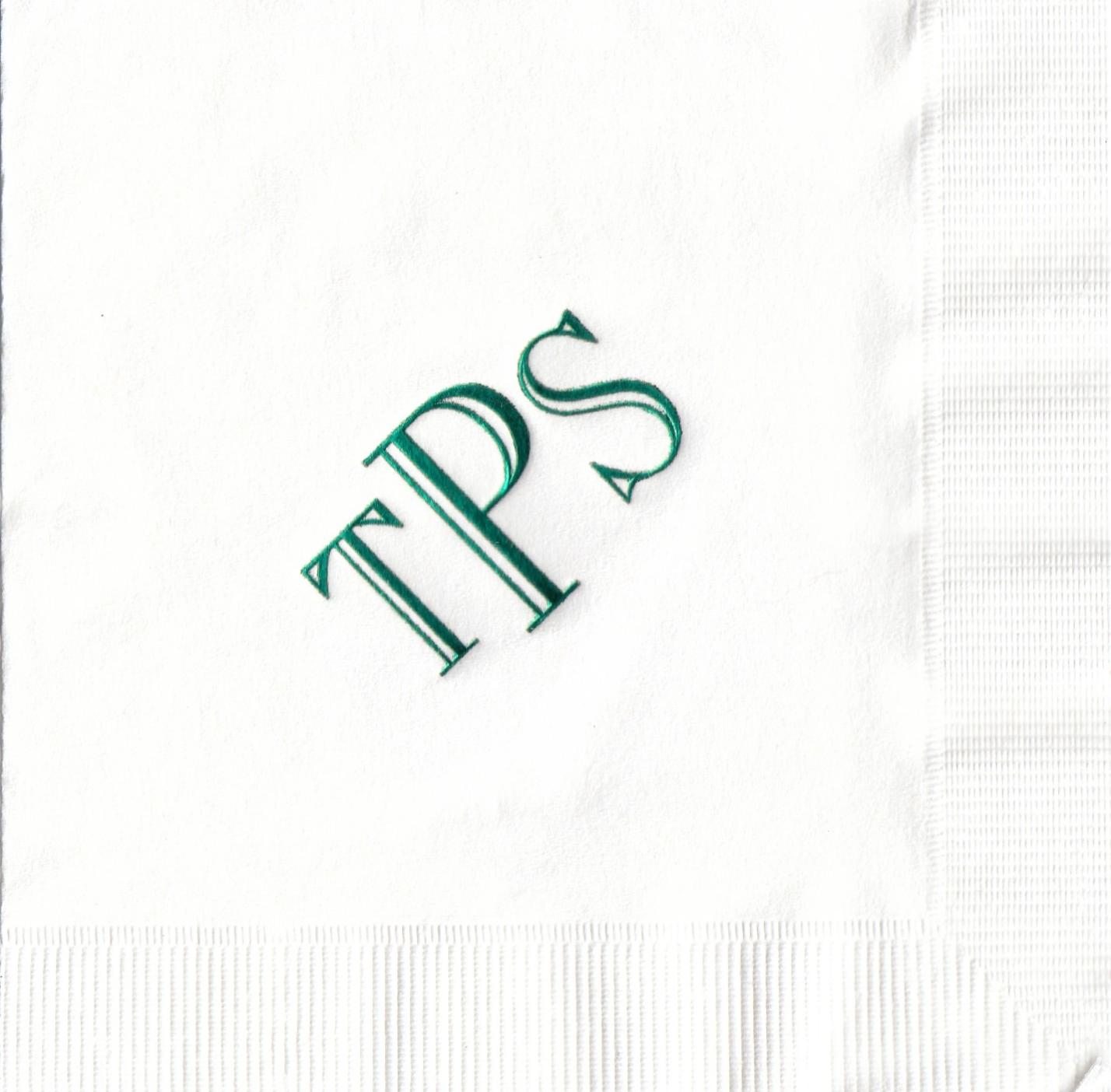 Napkin: White  Imprint: Hunter Ink  Beverage  Sample 16