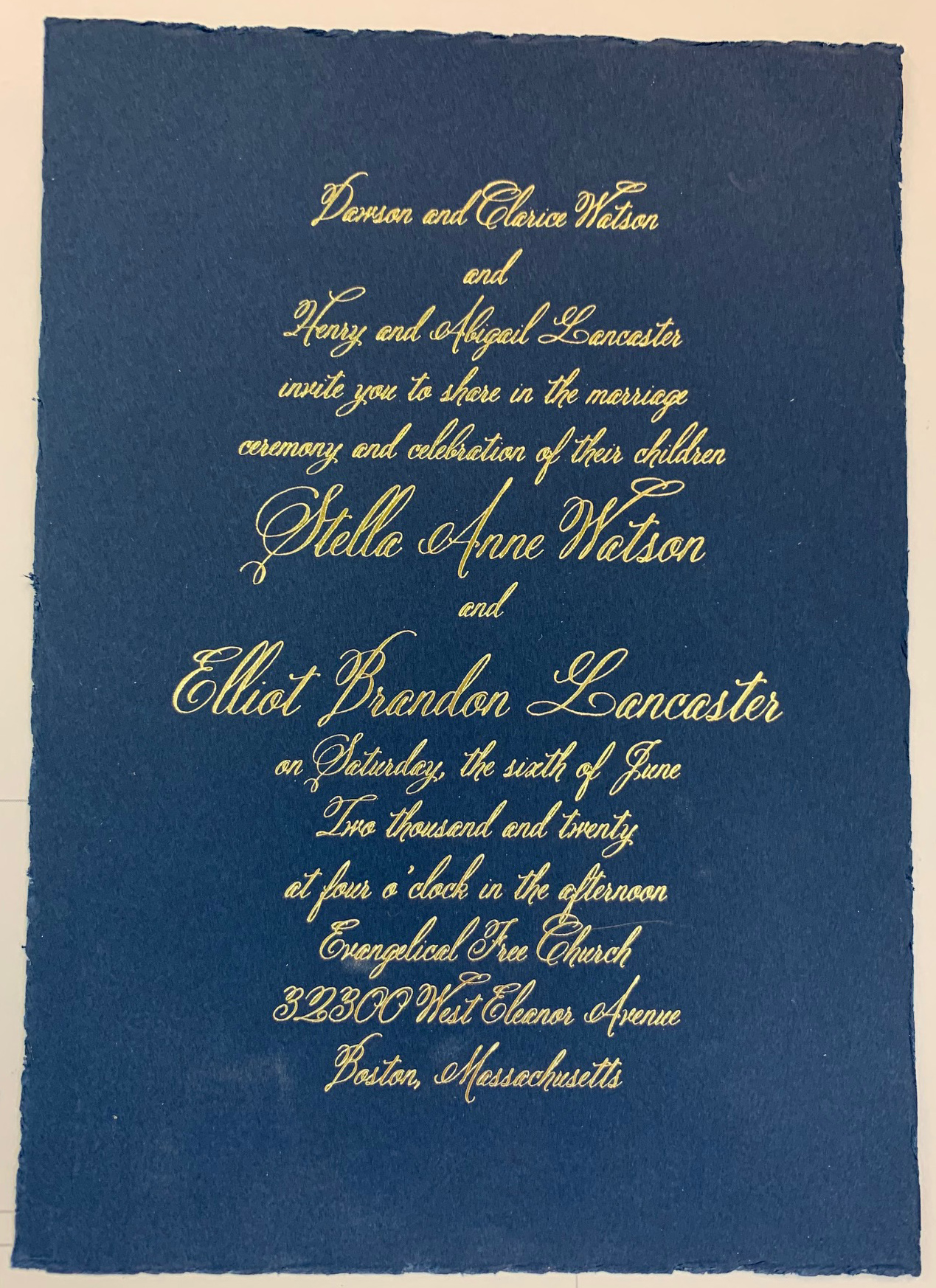 Let the color pop! - Leave the traditional colors behind and take a look at this special dark blue offering. Offered in 171 lb Midnight Blue with a natural deckled edge, this invitation is sure to pop out of the envelope and delight your guests! Offered only in foil printing, the gold leaf color simple leaps off the elegant paper to excite your guests for your big day!Response and accessory cards come in a beautifully contrasting Ecru Vellum with a navy blue colored deckled edge. The contrast is an excellent combination to the lovely dark blue invitation card.