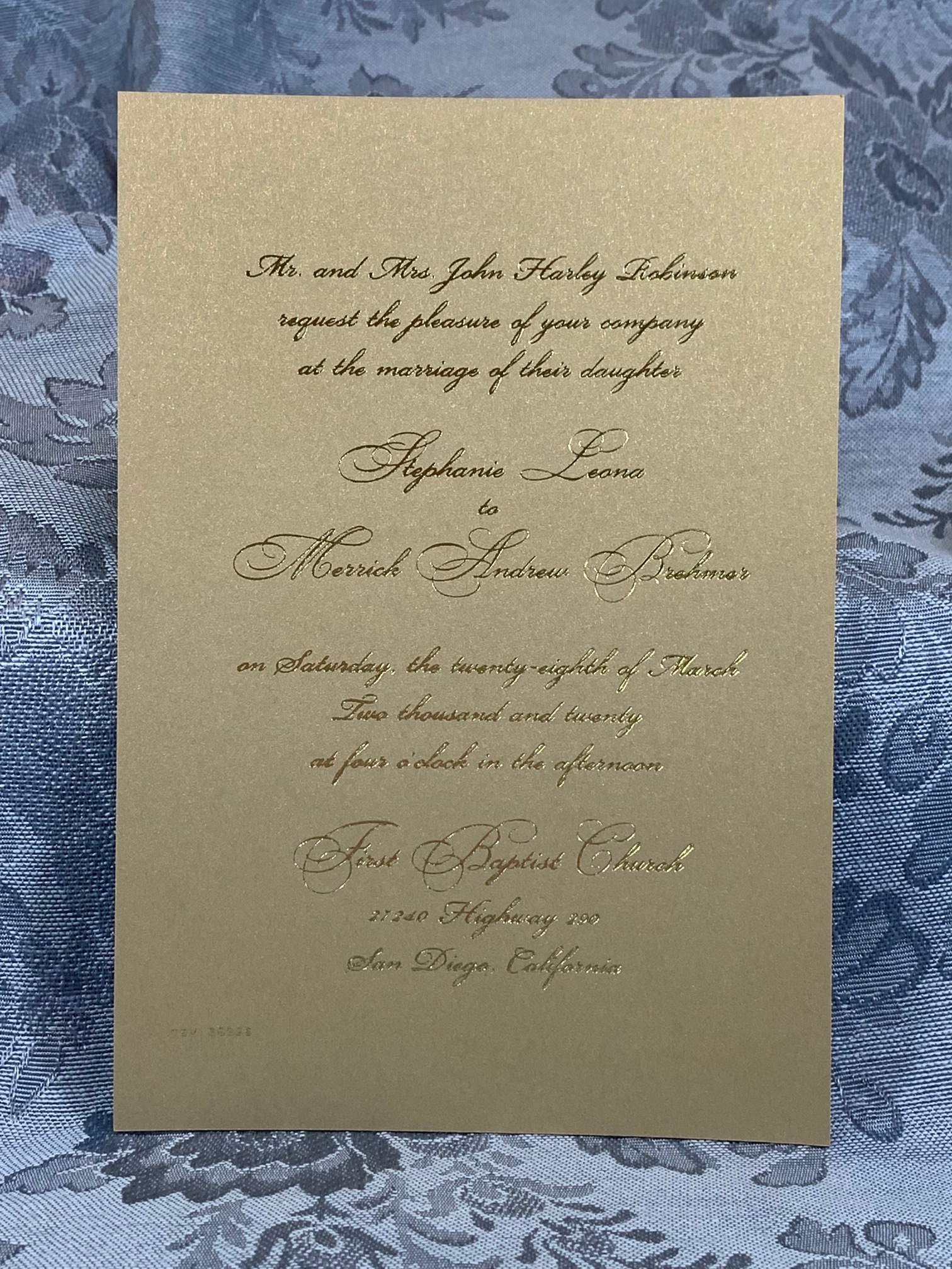 The Ultimate In Gold - This new offering is the ultimate in one's expression of love in gold. The front is elegant, pearlized gold which accents the gold foil only printing allowed on this side of the card. The reverse is a pearlized latte finish that is a lighter shade of brown, which works very well using gold or silver foil printing.This card is unique because it is one of the few that allows for two distinctly different colored sides and also allows you to print on both sides of the invitation card itself.The response cards also allow for foil printing on both or either side to enhance your ensemble with that added bit of elegance.Envelopes with this suite are specifically pearlized in the lighter latte color that will definitely give it the pop of something elegant and unforgettable!Call us today to discuss how we can custom tailor this new offering for your beautiful wedding invitation ensemble!