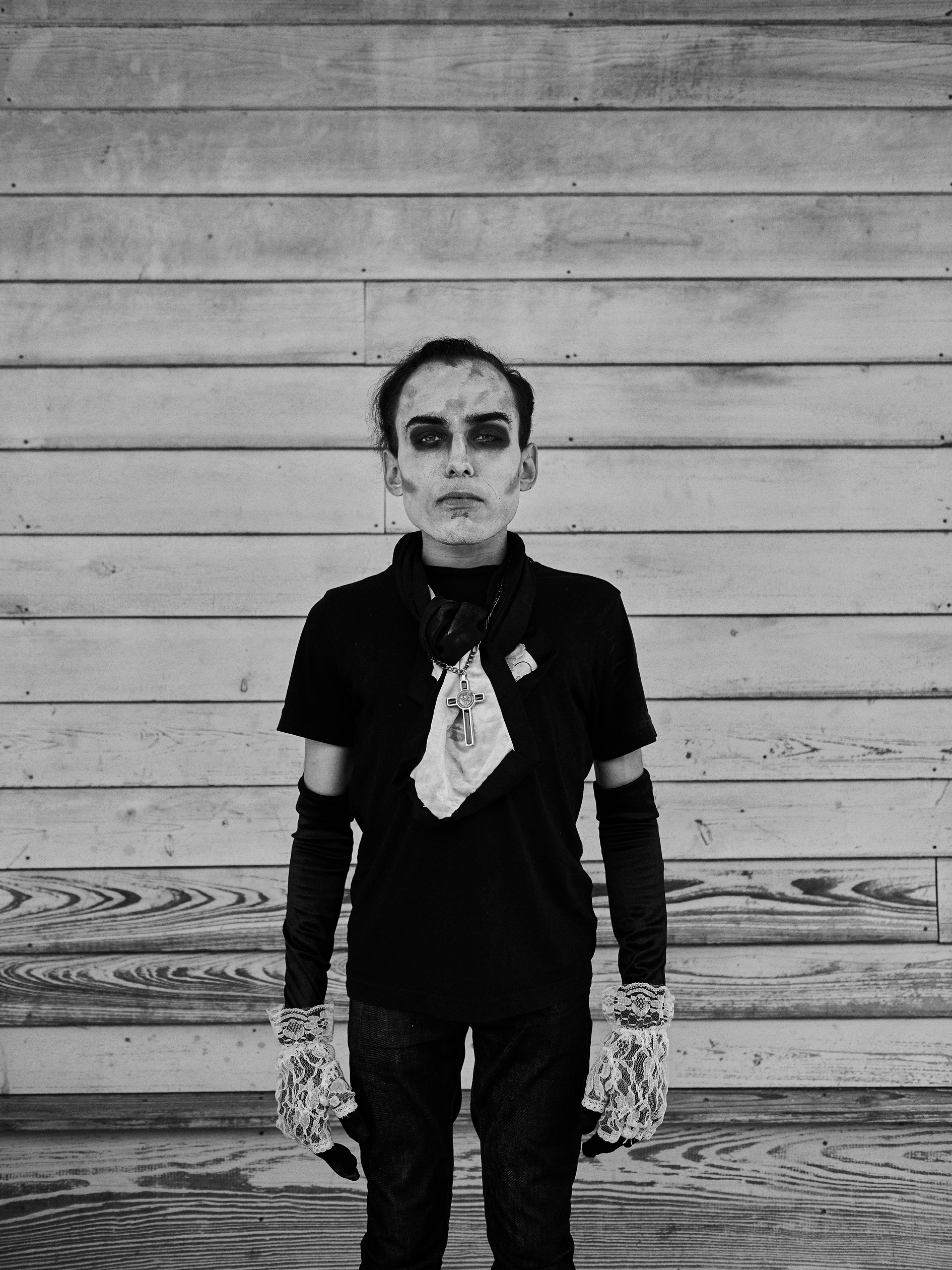 Portrait from photographic series NOLA Freak Punks by photographer Craig Mulcahy. Shot in New Orleans Louisiana. #BlackandWhite #Goth #Costume #Editorial #Commercial #Advertising