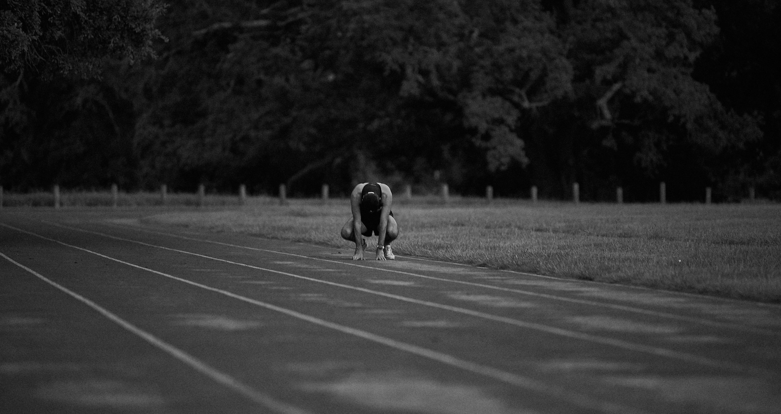 Jeremy of the Power Milers Track Club exhausted after marathon training, New Orleans, LA.