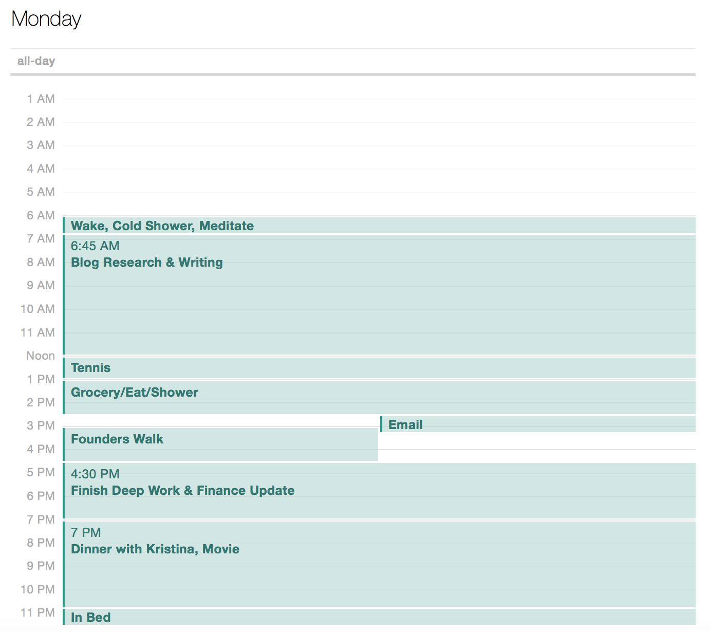 Example of my Block Calendar on a Monday