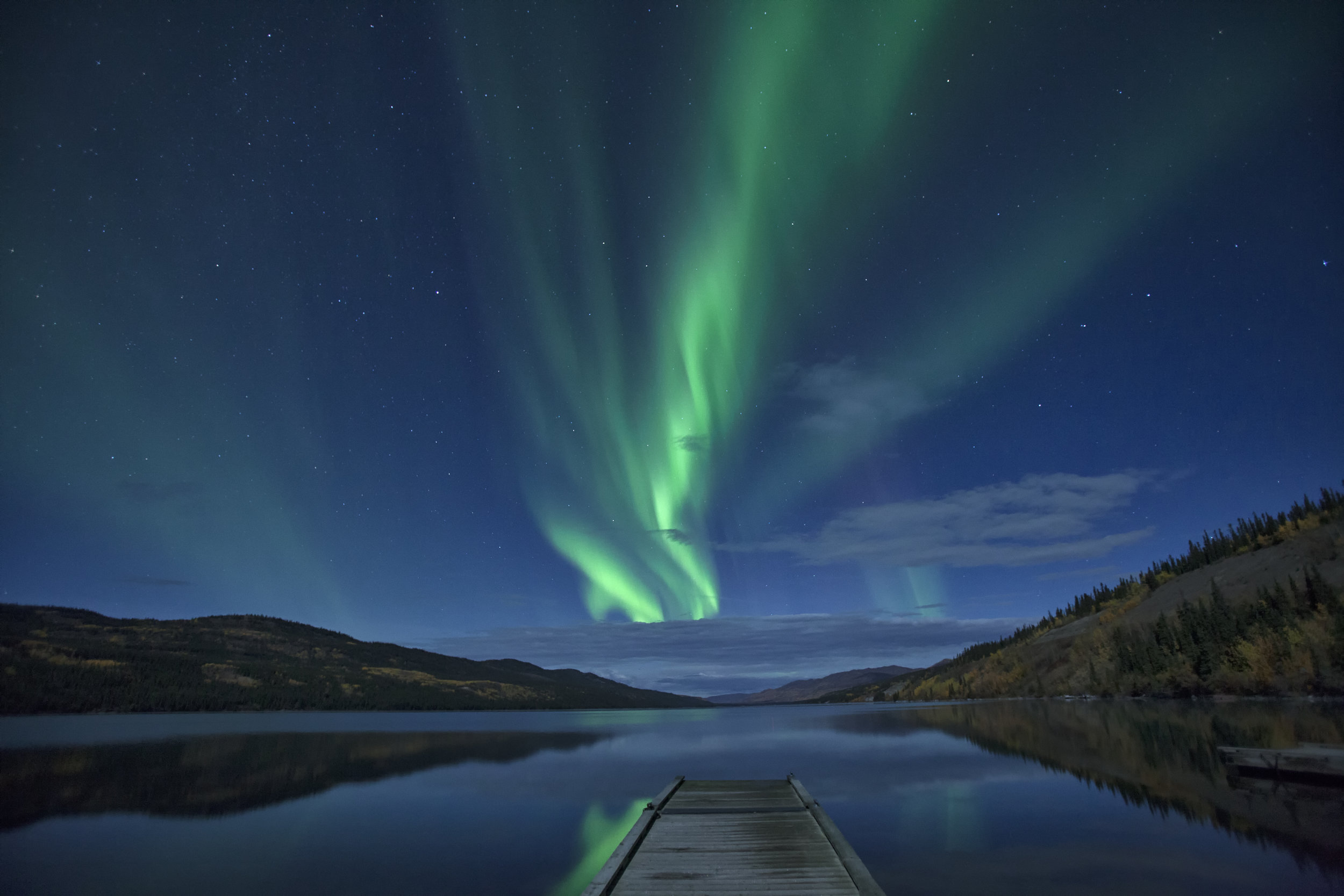 Lady Aurora over Fox Lake - Across the Blue Planet