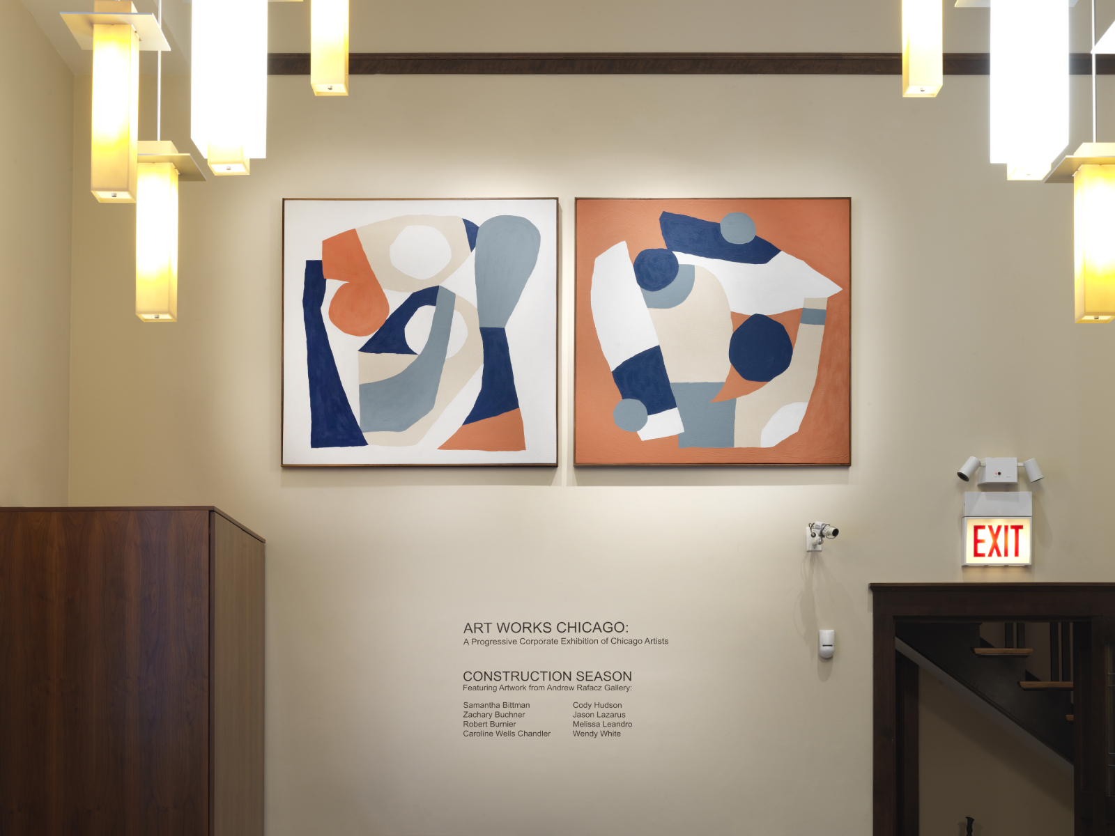 A recent project in a Bank featured Cody Hudson paintings.