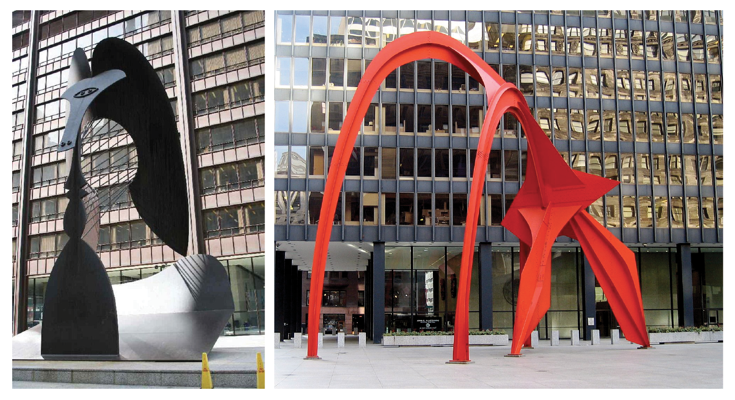 Left: Pablo Picasso, Untitled, 1967. Right: Alexander Calder,  Flamingo , 1974.