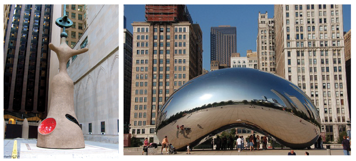 Left: Joan Miró,  Chicago , 1981. Right: Anish Kapoor,  Cloud Gate , 2004.
