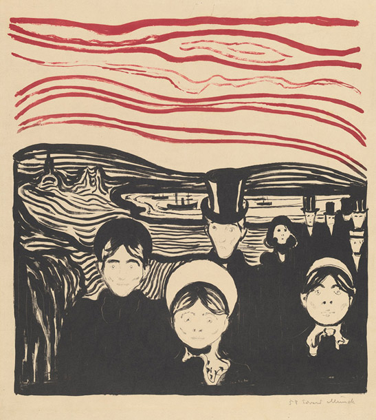 Edvard Munch,  Anxiety , Color lithograph in black and red on card, 1896