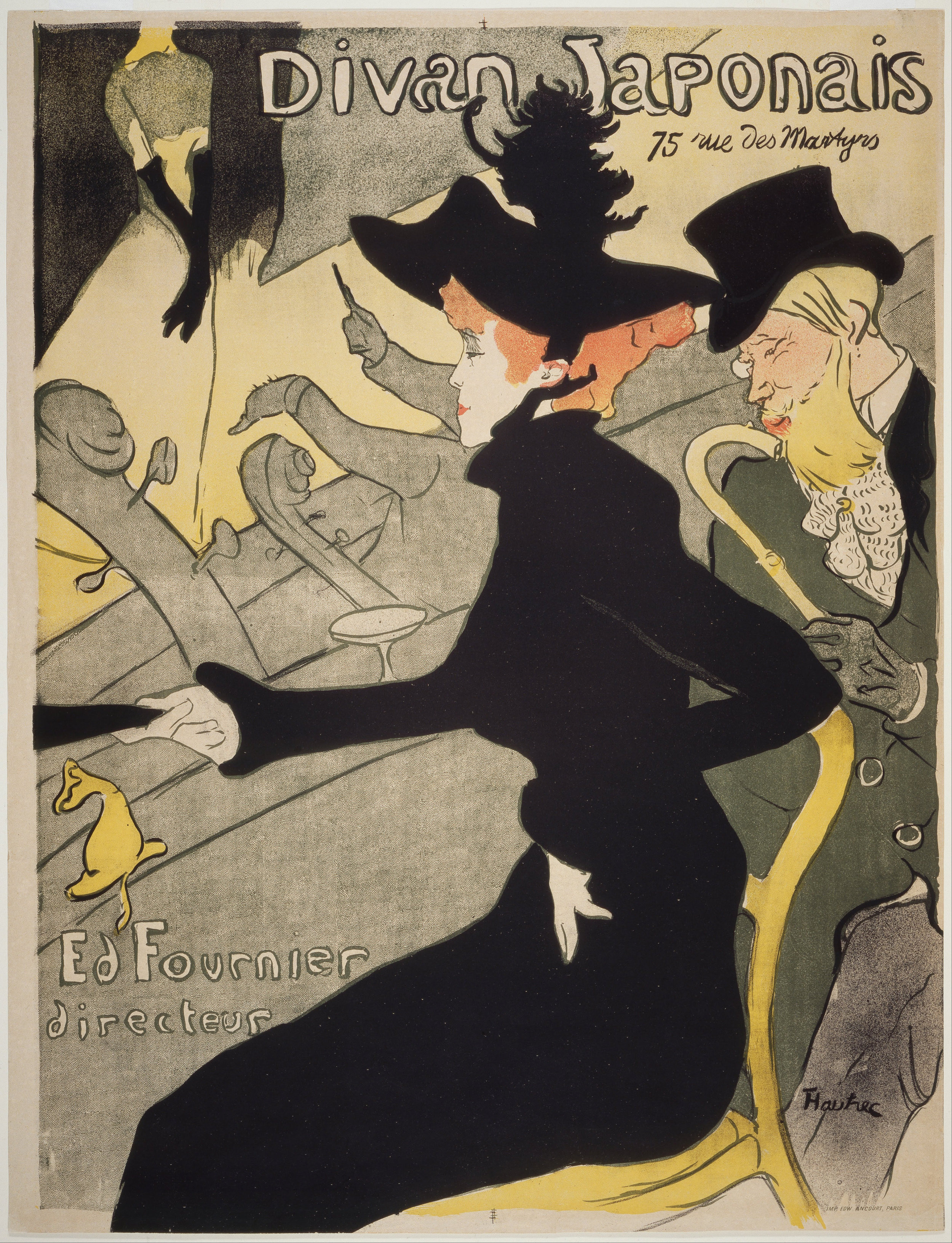 Henri de Toulouse-Lautrec,  Divan Japonais , Lithograph printed in four colors, 1892-93