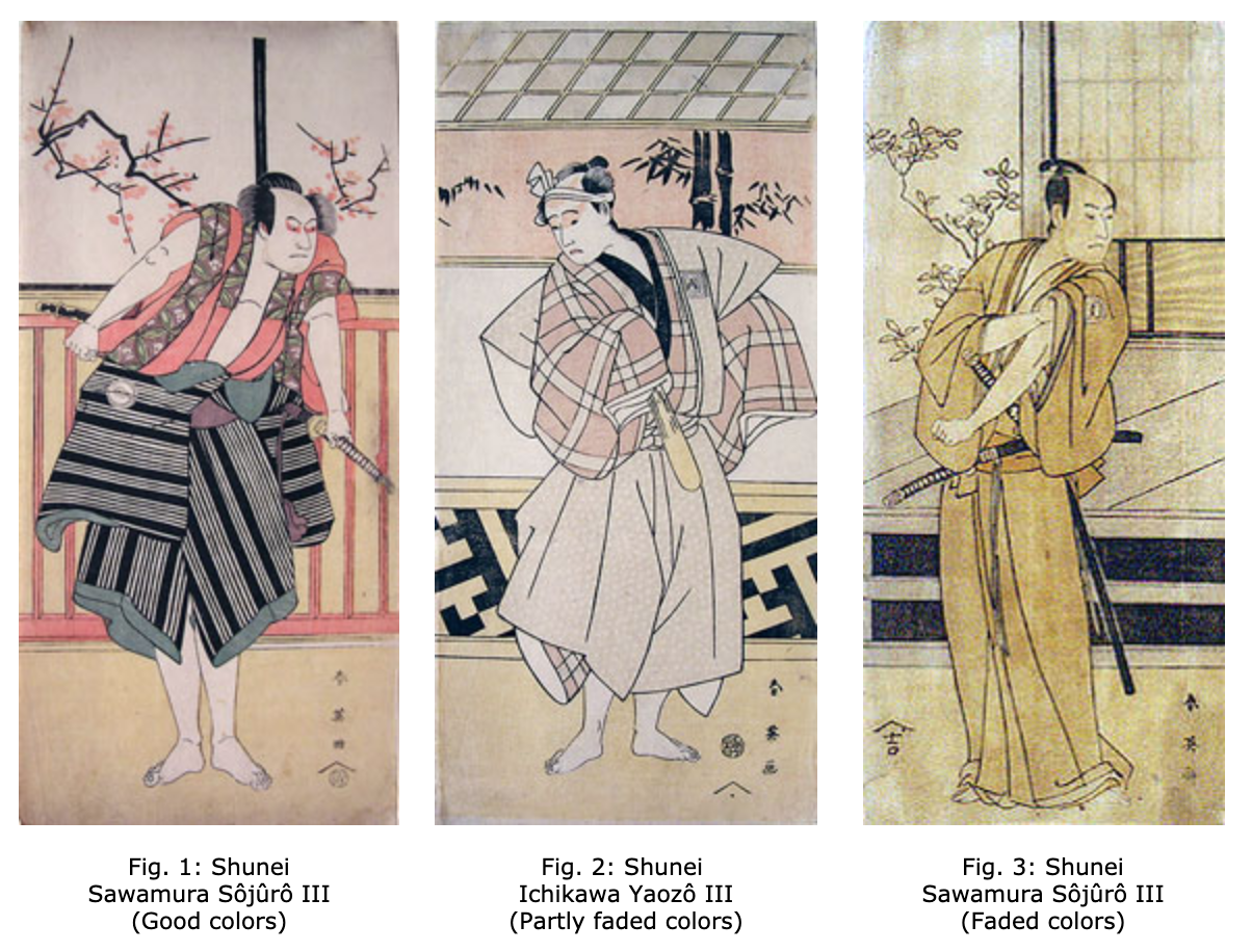 Colors fading in Japanese woodblock prints via  Viewing Japanese Prints