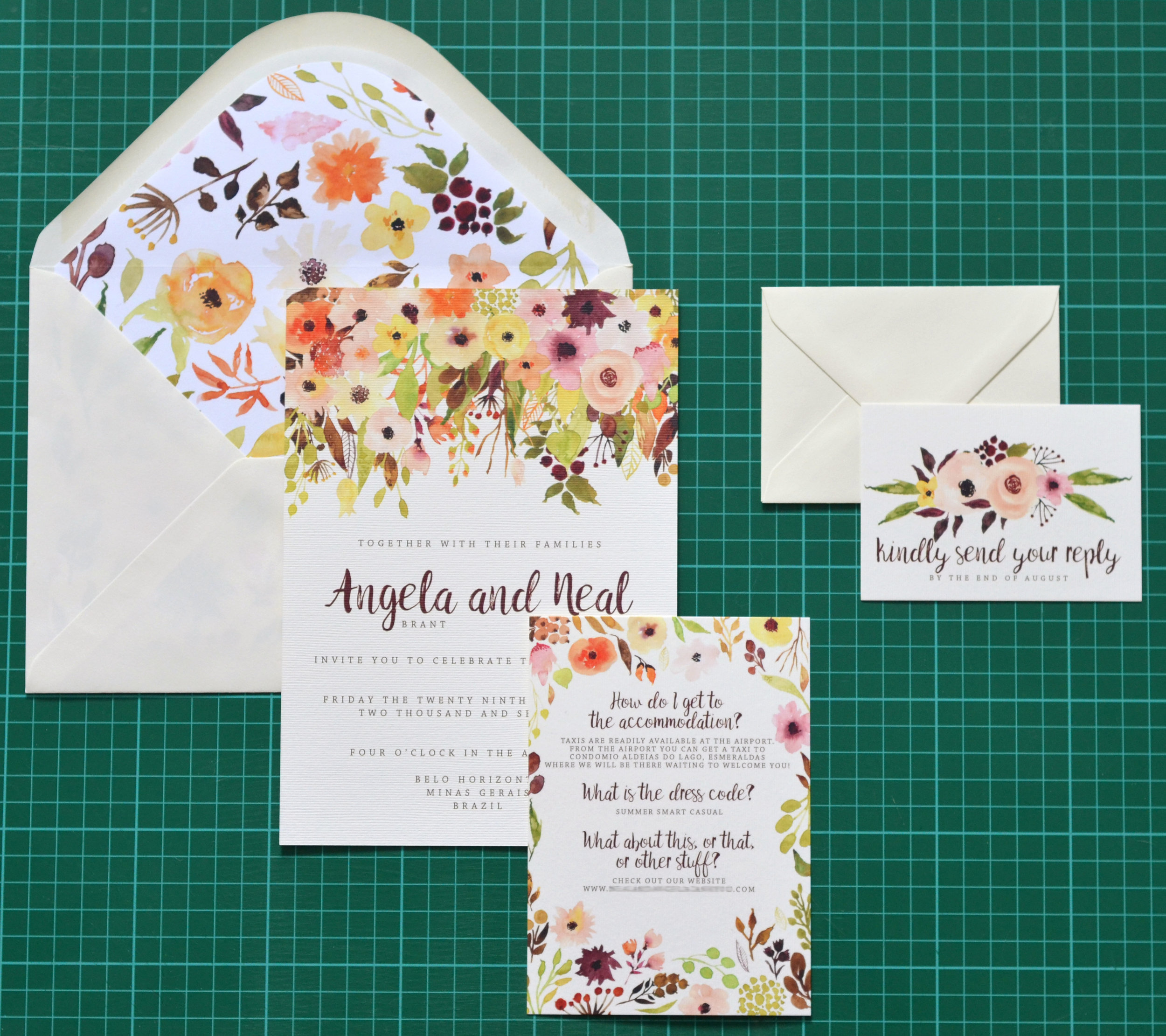 autumn fall wedding stationery set