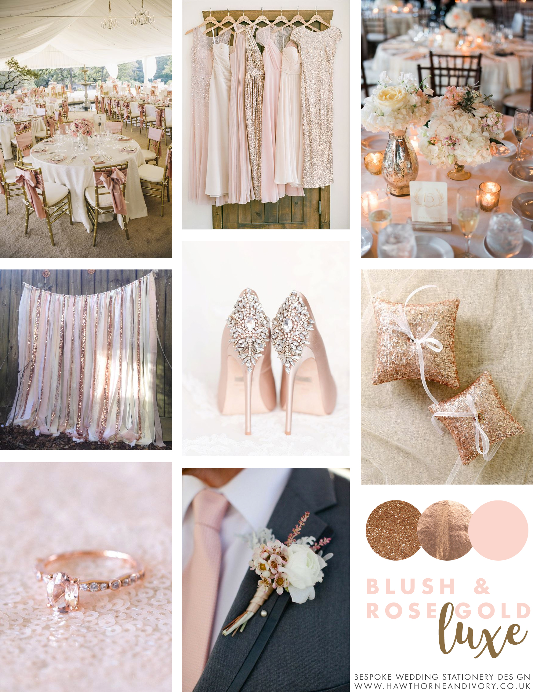 blush and rose gold luxe mood board