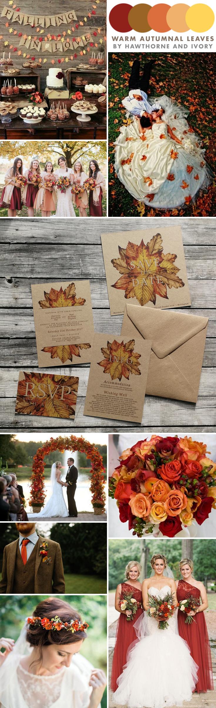 autumn leaves wedding moodboard hawthorne and ivory
