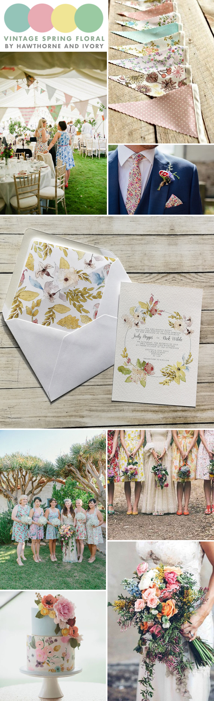spring floral vintage shabby chic wedding moodboard hawthorne and ivory