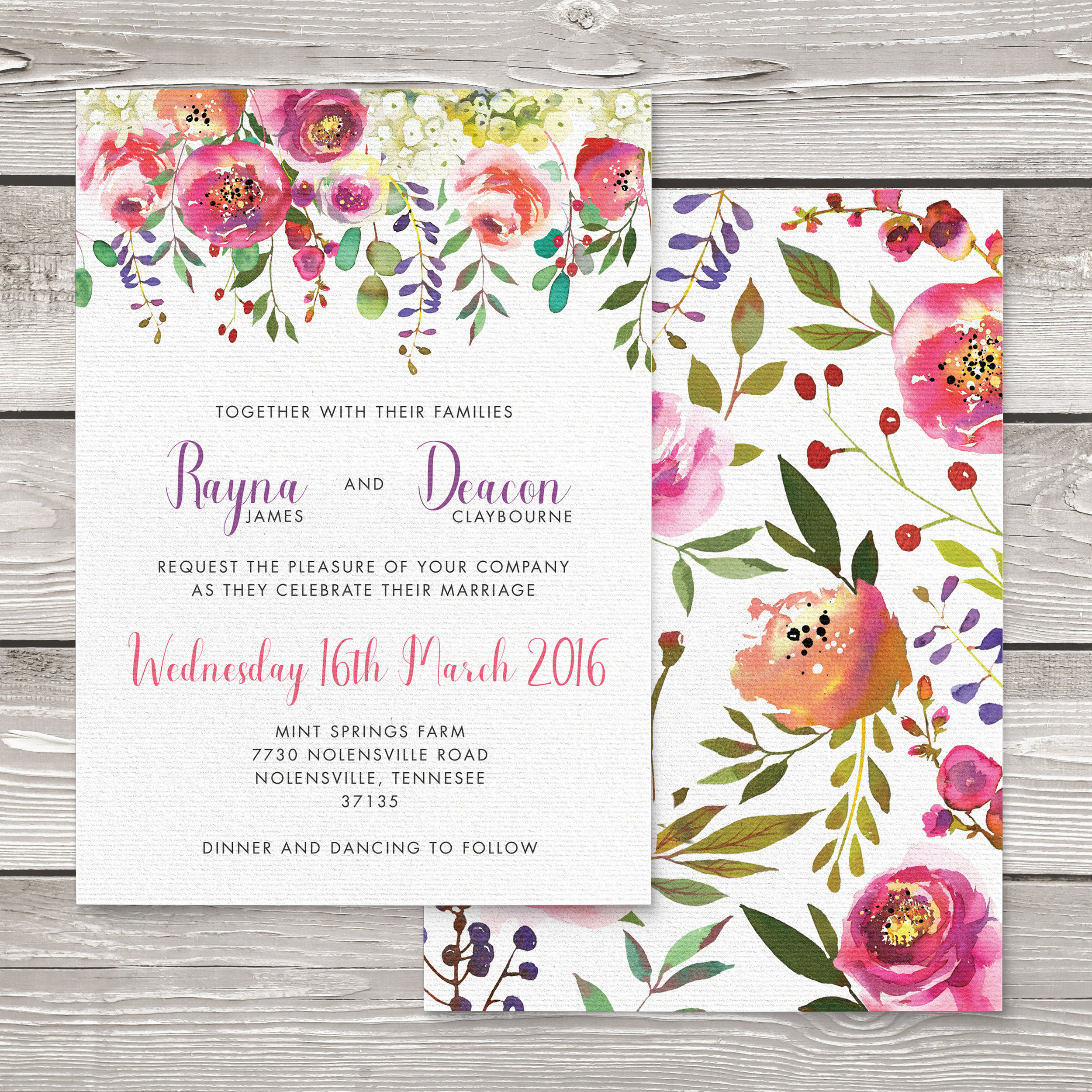 Bright Summer Floral Invitation - colourful pink watercolour flowers wedding stationery suite uk - Hawthorne and Ivory
