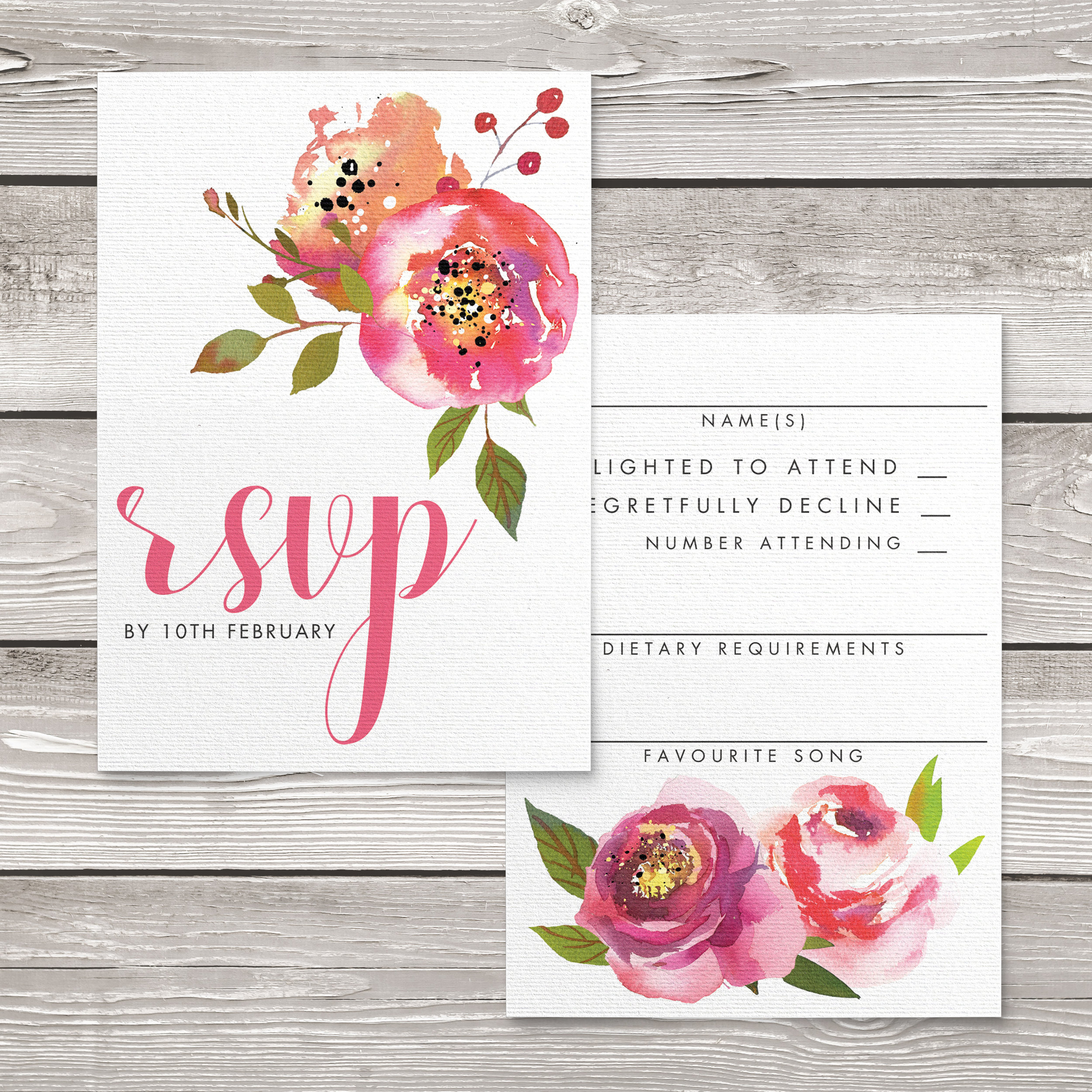 Bright Summer Floral RSVP Card - colourful pink watercolour flowers wedding stationery suite uk - Hawthorne and Ivory