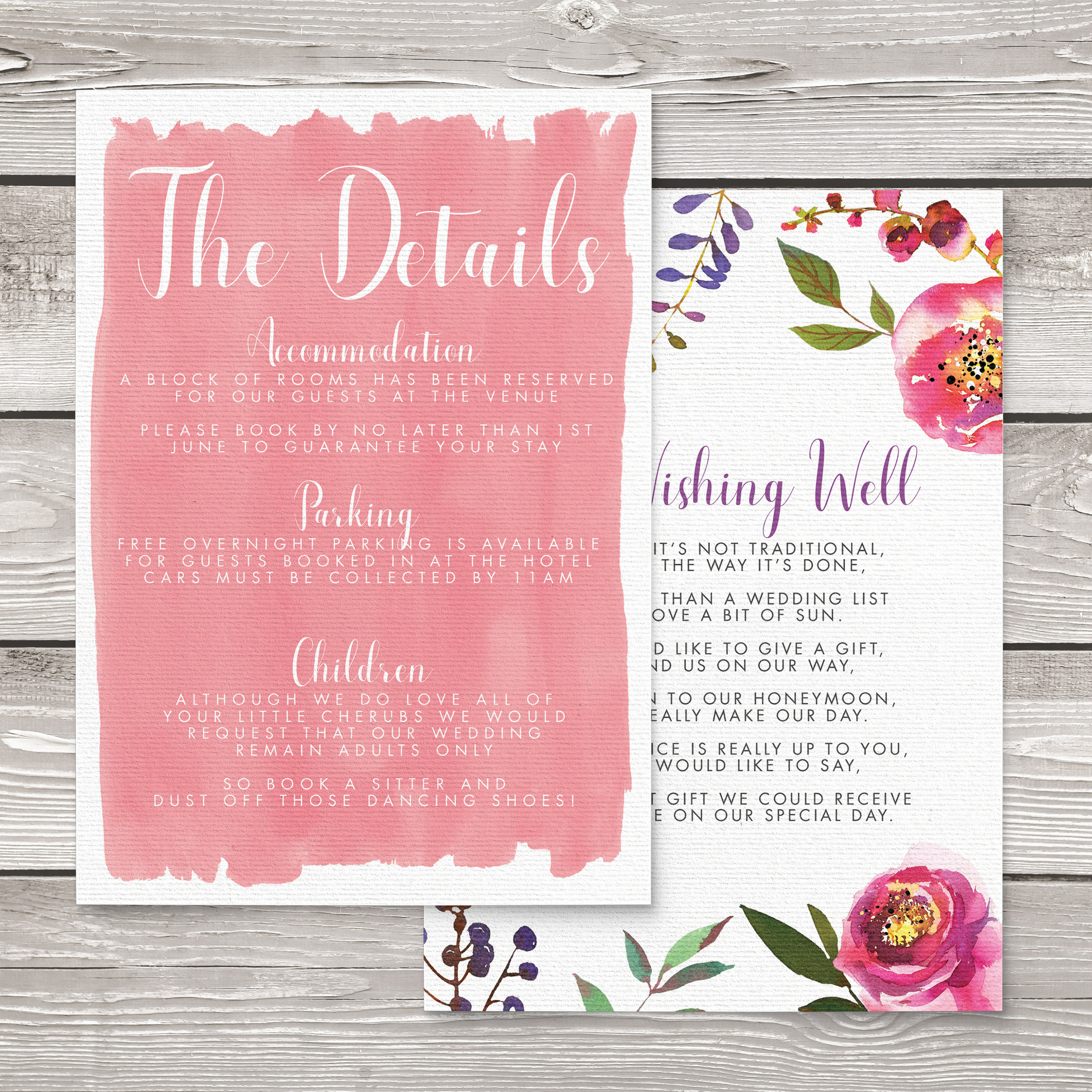 Bright Summer Floral Details Card - colourful pink watercolour flowers wedding stationery suite uk - Hawthorne and Ivory