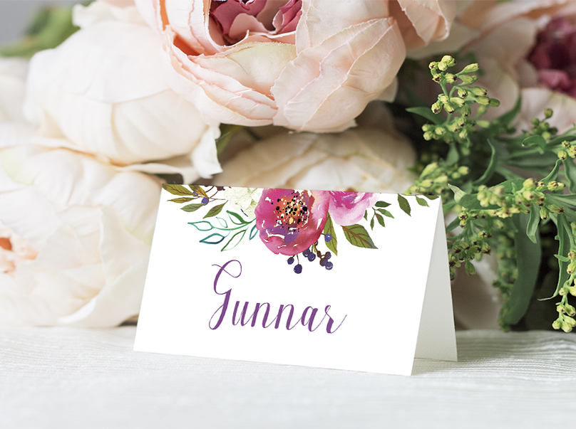 Bright Summer Floral Placecard - colourful pink watercolour flowers wedding stationery suite uk - Hawthorne and Ivory