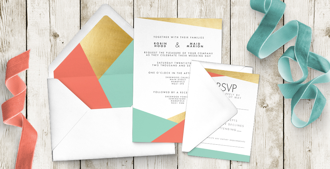 Aqua and Coral Geometry Wedding Invitation Suite