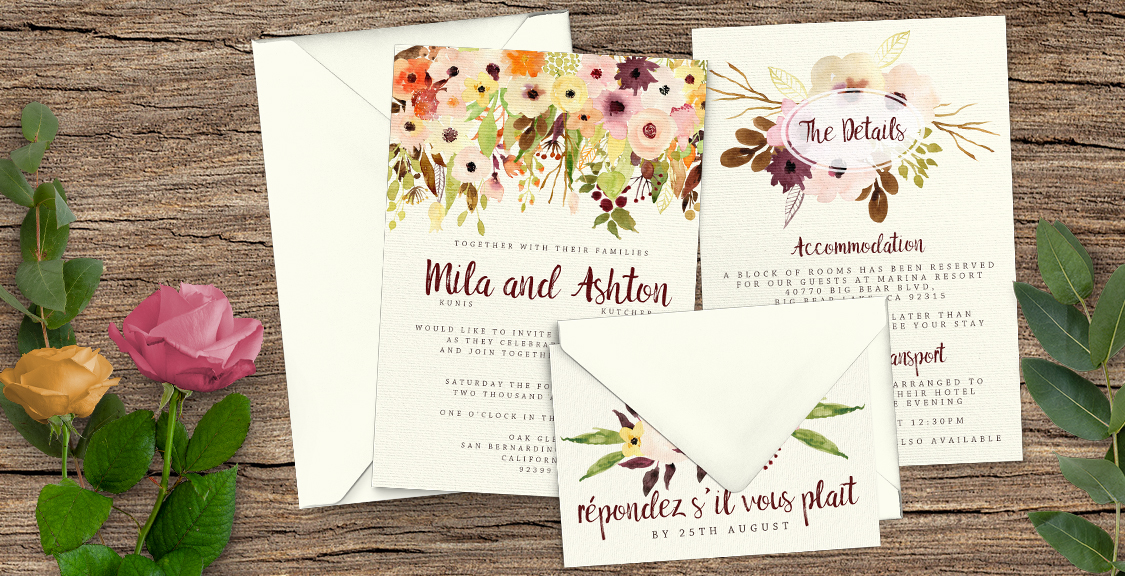 Autumn Floral Wedding Invitation Suite