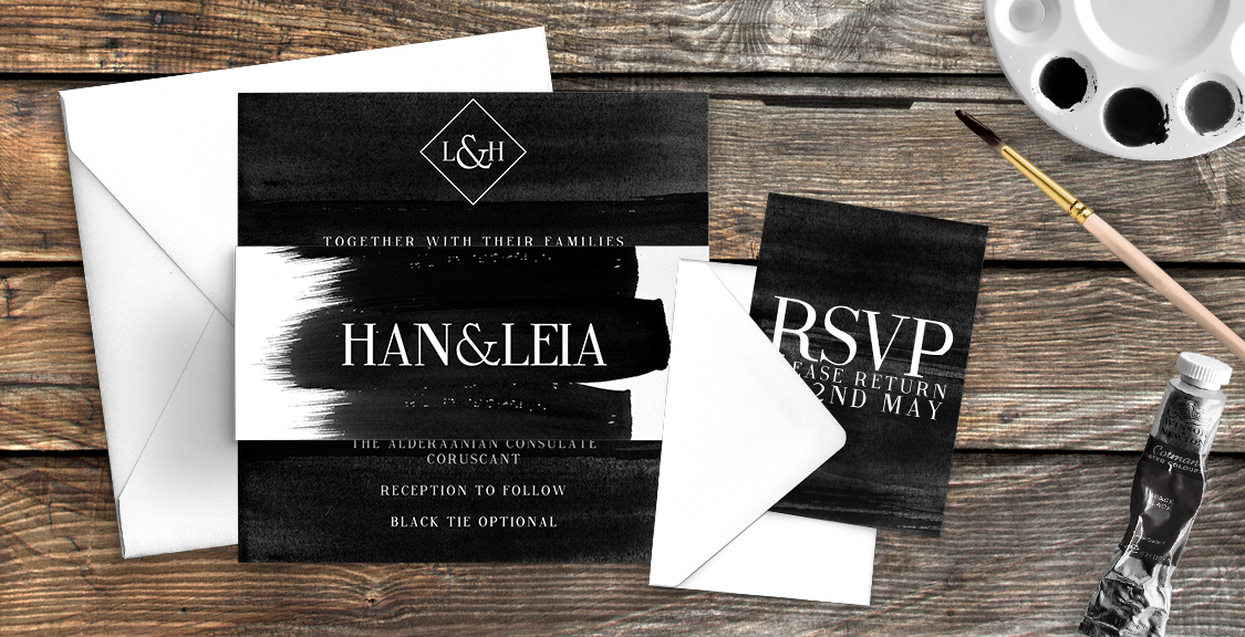 Black and White Wedding Invitation Suite