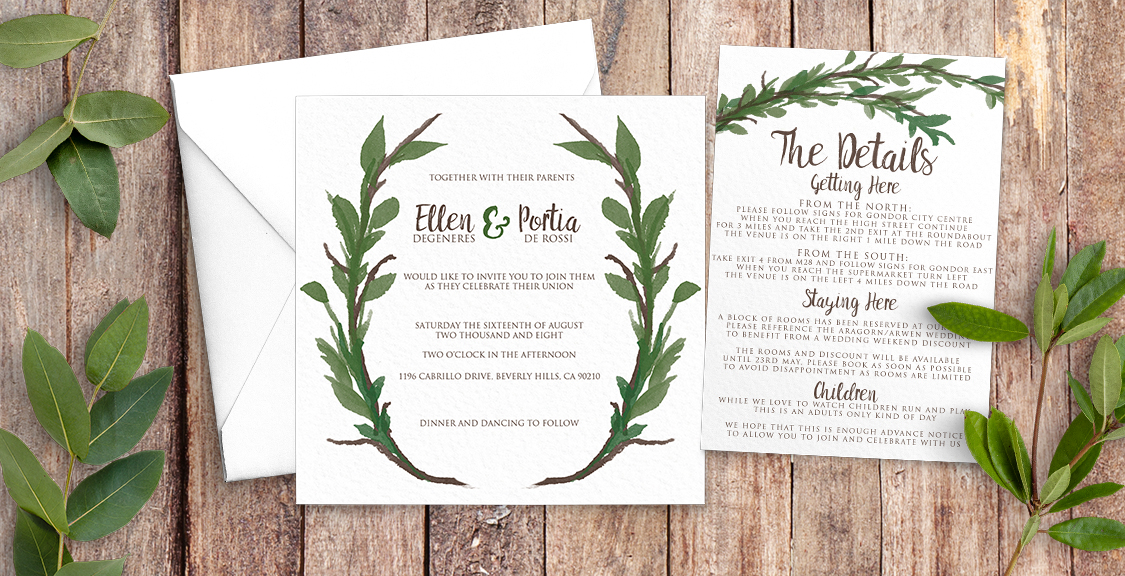 Leafy Botanical Wedding Invitation Suite