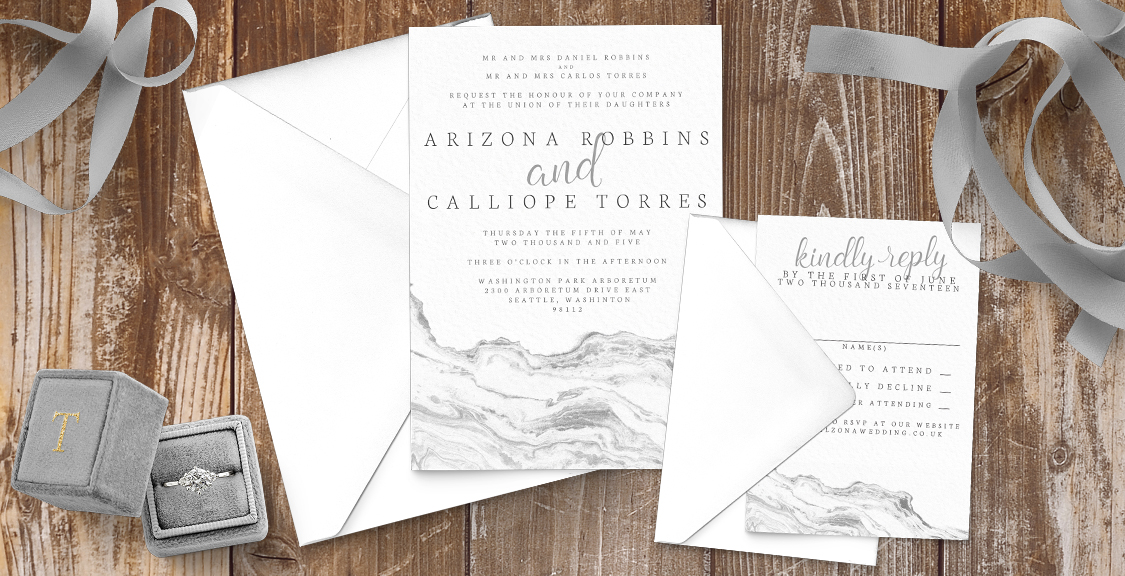 Marble Elegance Wedding Invitation Suite