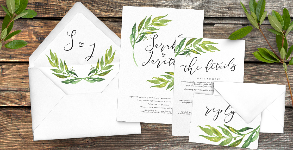 Olive Branch Wedding Invitation Suite
