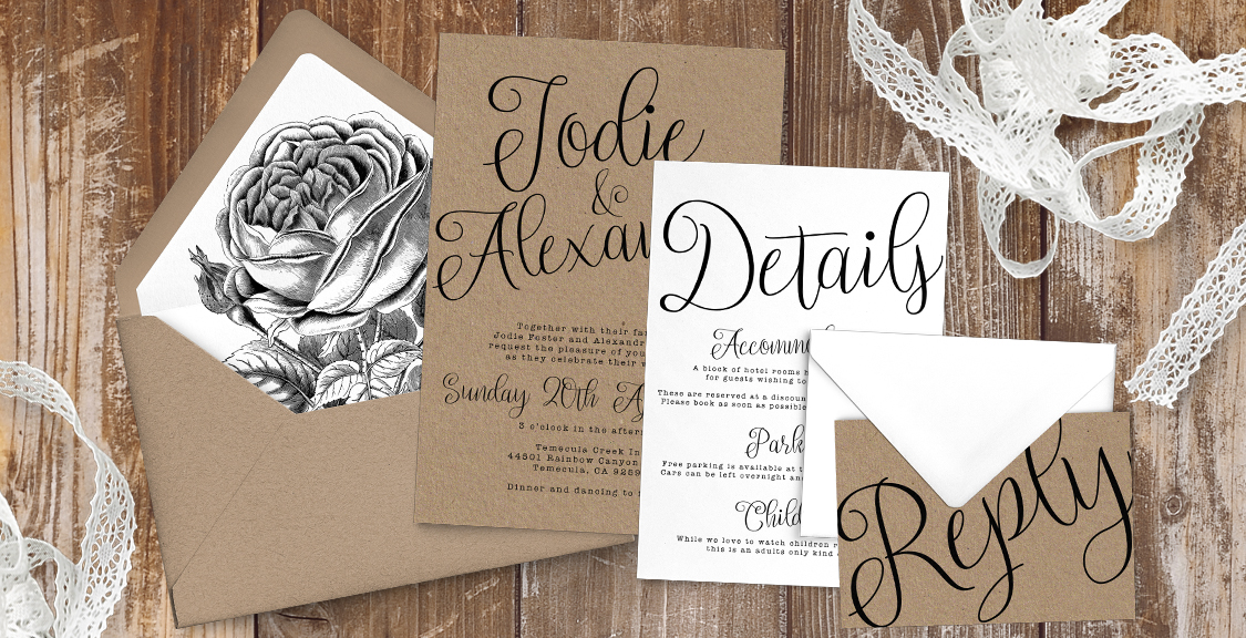 Simple Kraft Wedding Invitation Suite
