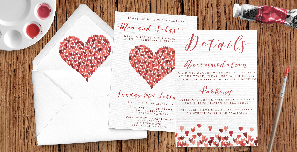 Valentine Hearts Wedding Invitation Suite