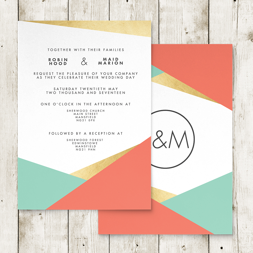 Aqua and Coral Geometry Invitation - bold geometric wedding stationery suite uk - Hawthorne and Ivory