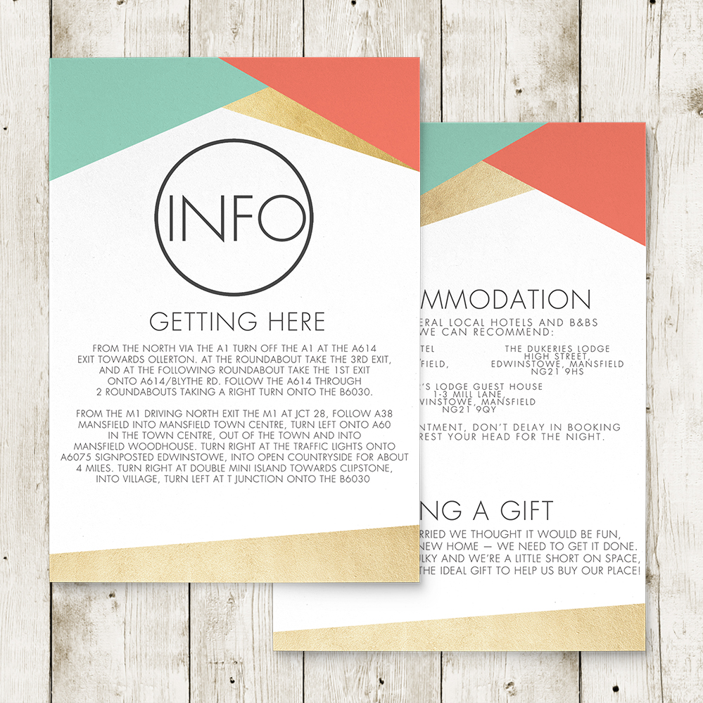 Aqua and Coral Geometry Details Card - bold geometric wedding stationery suite UK - Hawthorne and Ivory