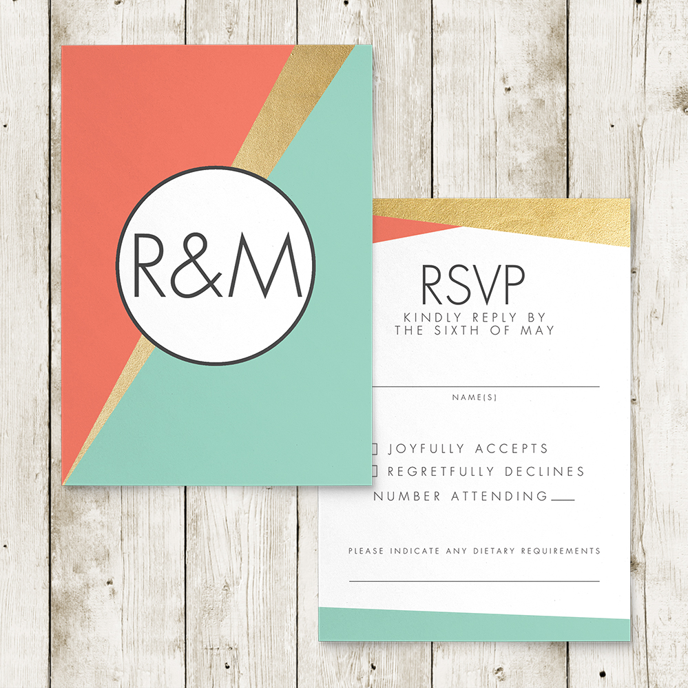 Aqua and Coral Geometry RSVP Card - bold geometric wedding stationery suite UK - Hawthorne and Ivory