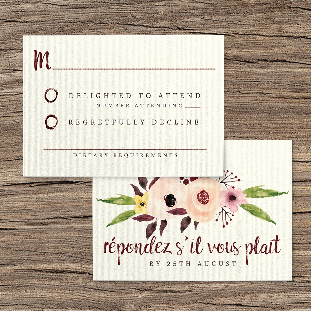 Autumn Flowers RSVP Card - watercolour flowers wedding stationery suite UK - Hawthorne and Ivory